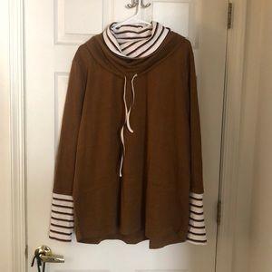 Striped Contrast Pullover Sweatshirt